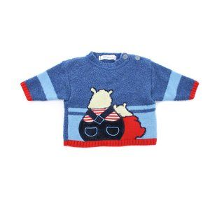CLAYEUX Blue Knit Sweater Size Toddler's 3 Months